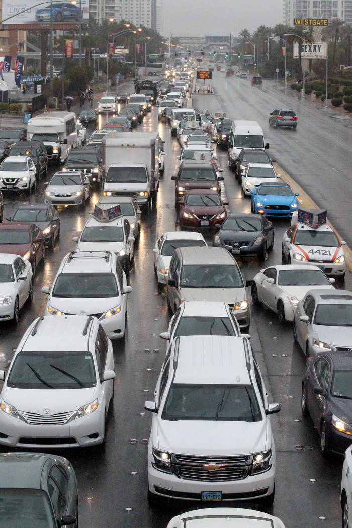 Traffic on Paradise Road at the Las Vegas Convention Center is at a standstill on the first day of the CES, Tuesday, Jan. 10, 2018. (K.M. Cannon/Las Vegas Review-Journal) @KMCannonPhoto