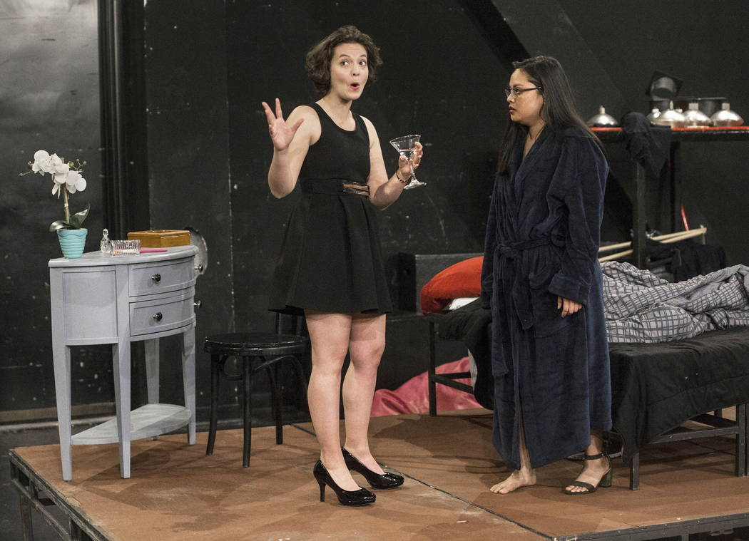 "UNLV Second Stage actress Evelyn Benitez, left, works through a scene with Tiffany Jamero during rehearsal for ""The House of Yes"" at Paul Harris Theatre in the Alta Ham Fine Arts ..."
