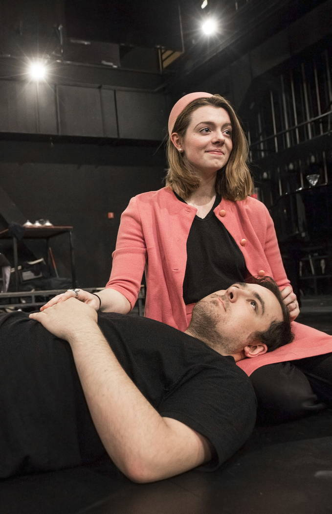 "UNLV Second Stage actress Callie Maxson, right, works through a scene with Myles Lee during rehearsal for ""The House of Yes"" at Paul Harris Theatre in the Alta Ham Fine Arts building on Wednesday, ..."