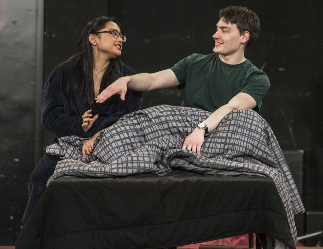 "UNLV Second Stage actress Tiffany Jamero, left, works through a scene with Errol Porter during rehearsal for ""The House of Yes"" at Paul Harris Theatre in the Alta Ham Fine Arts b ..."