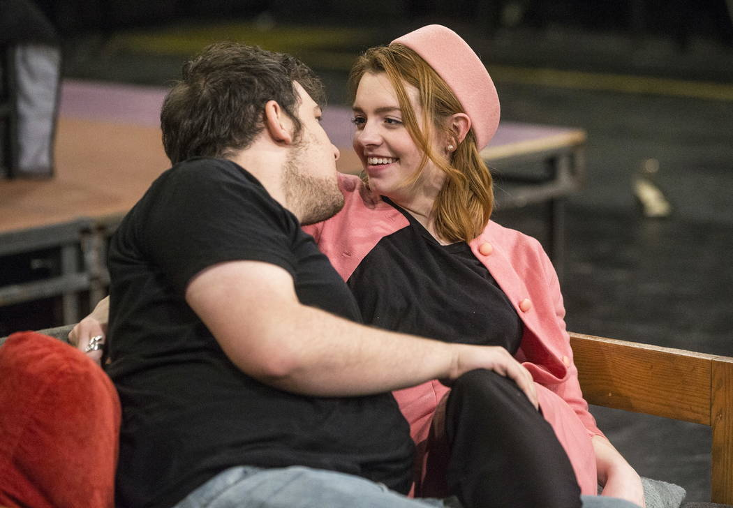 "UNLV Second Stage actress Callie Maxson, right, works through a scene with Myles Lee during rehearsal for ""The House of Yes"" at Paul Harris Theatre in the Alta Ham Fine Arts buil ..."