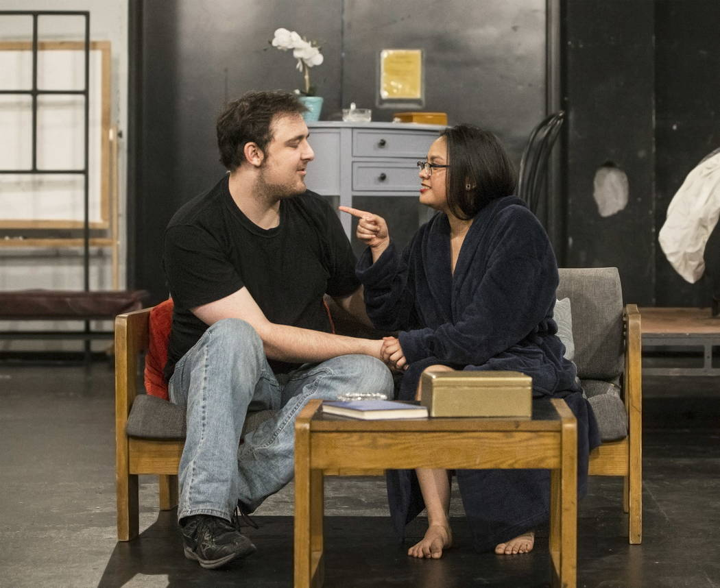 "UNLV Second Stage actress Tiffany Jamero, right, works through a scene with Myles Lee during rehearsal for ""The House of Yes"" at Paul Harris Theatre in the Alta Ham Fine Arts bui ..."