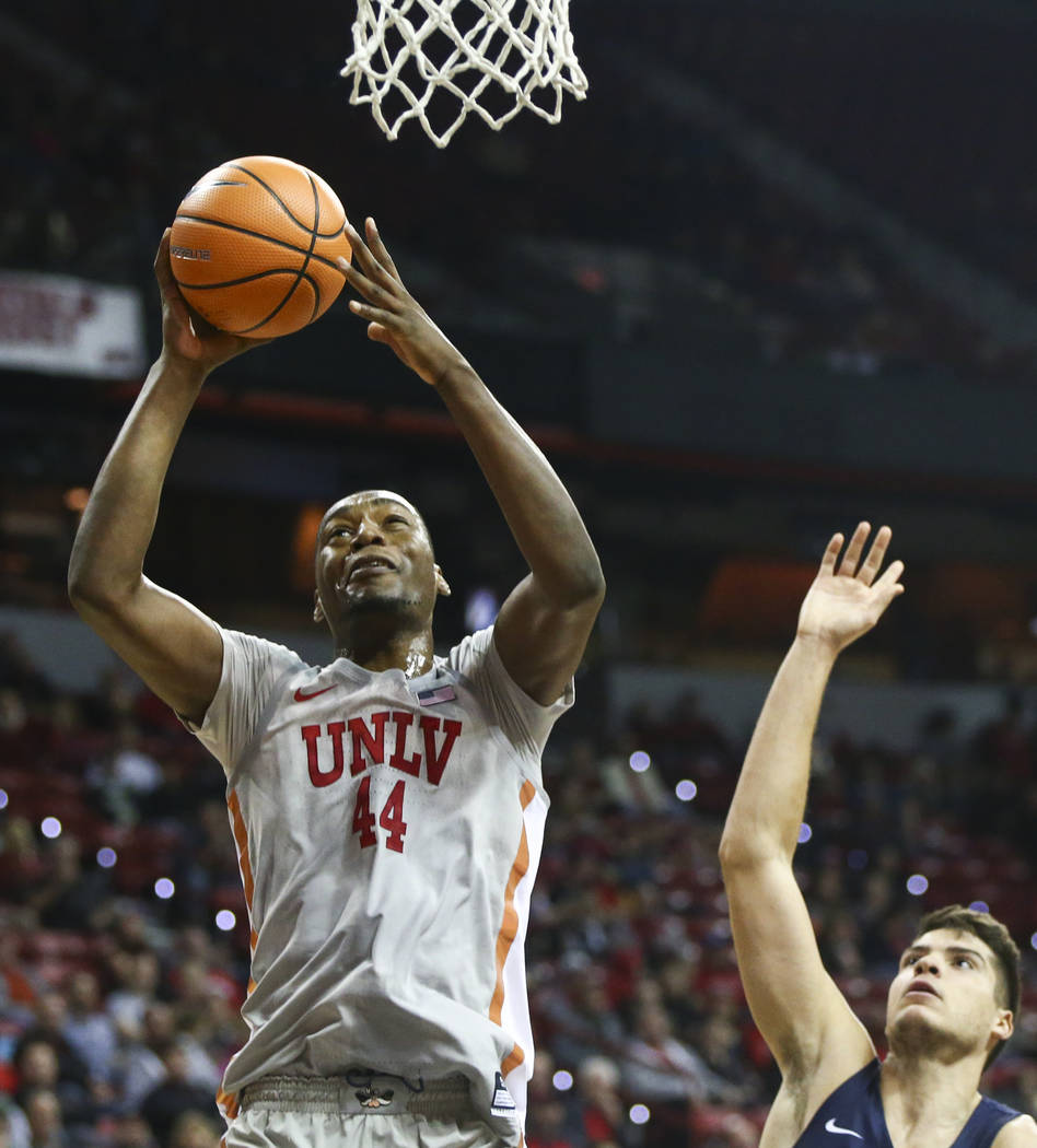 UNLV Rebels forward Brandon McCoy (44) goes up to the basket against the Utah State Aggies during the first half of a basketball game at the Thomas & Mack Center in Las Vegas on Saturday, Jan. ...