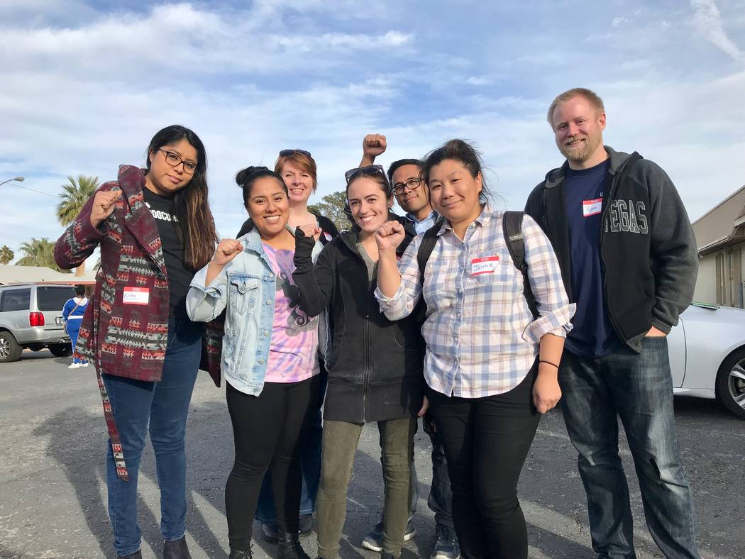 Jennie Yim (middle right) stands with members of the Democratic Socialists of America Las Vegas Chapter at the group's first brake light change event at First African Methodist Episcopal Church in ...