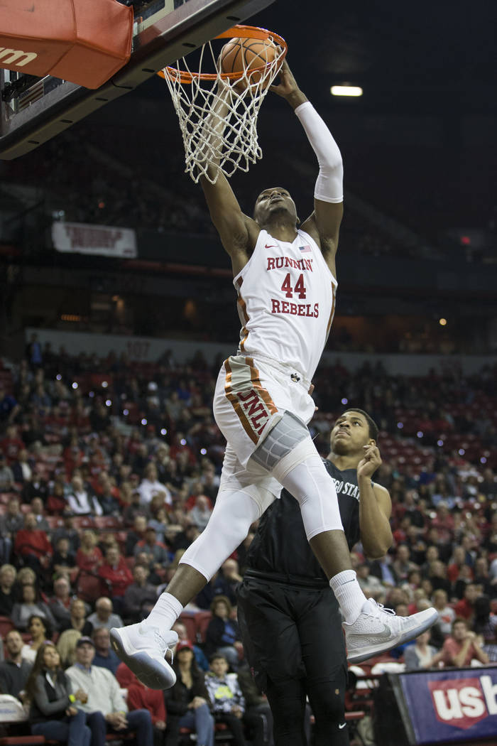 UNLV Rebels forward Brandon McCoy (44) dunks the ball against San Diego State Aztecs at the Thomas & Mack Center in Las Vegas, Saturday, Jan. 27, 2018. Erik Verduzco Las Vegas Review-Journal @ ...