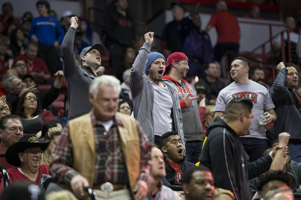 UNLV Rebels fans react during a game against the San Diego State Aztecs at the Thomas & Mack Center in Las Vegas, Saturday, Jan. 27, 2018. UNLV won 88-78. Erik Verduzco Las Vegas Review-Journa ...