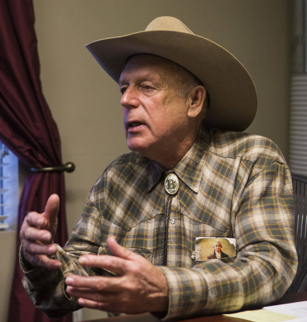 Bunkerville rancher Cliven Bundy at the office of defense attorney Bret Whipple in downtown Las Vegas on Tuesday, Jan. 9, 2018. Federal charges against Bundy, two of his sons and an independent mi ...
