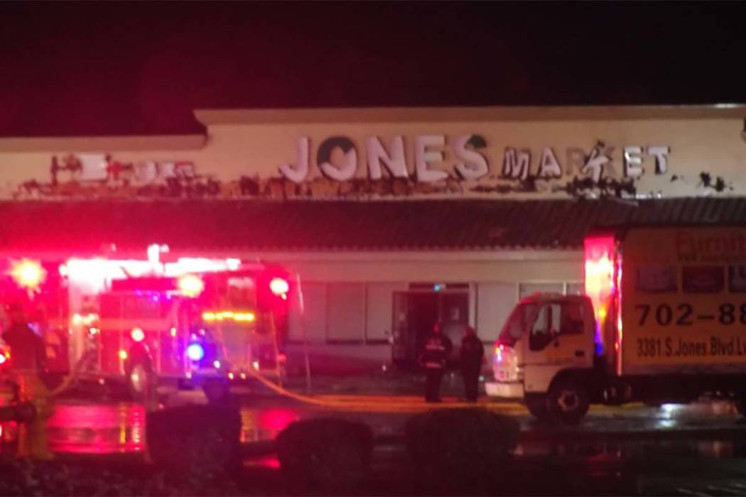 Clark County firefighters battled a blaze at a strip mall on the 3400 block of Jones Boulevard, near Desert Inn Road, early Tuesday morning. (Max Michor/Las Vegas Review-Journal)