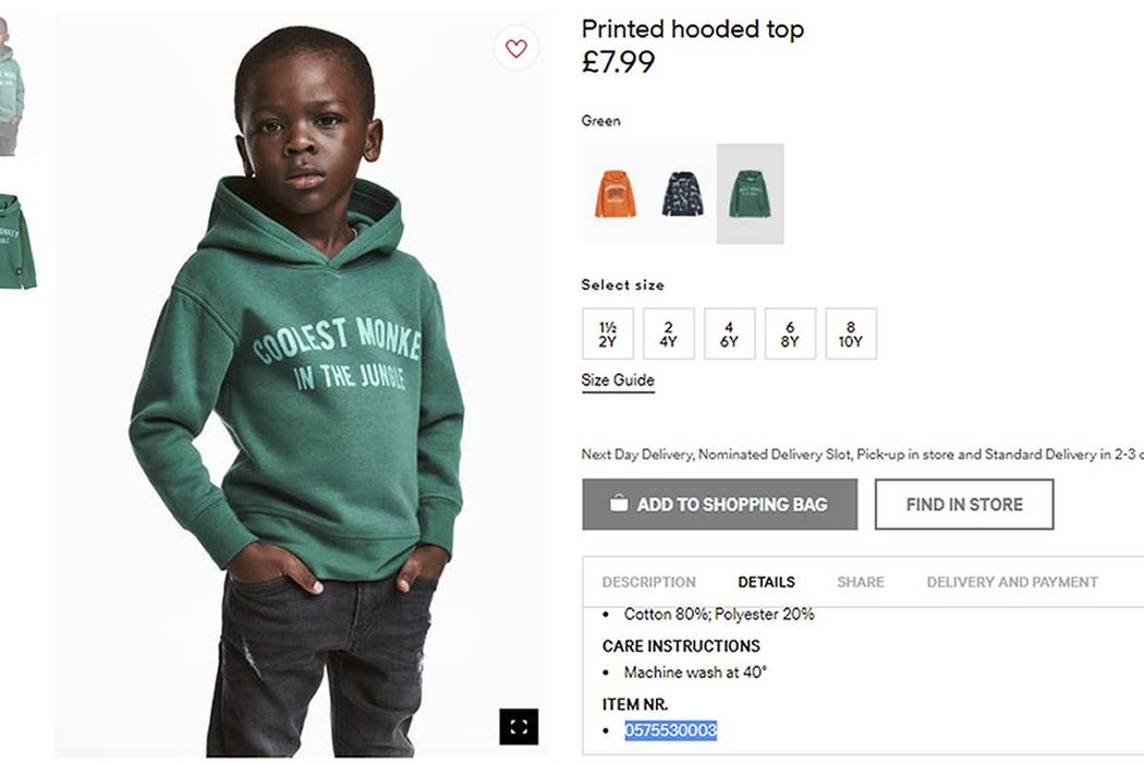 "Clothing giant H&M has apologized Monday, Jan. 8, 2017, and removed an advertising image of a black model in a sweatshirt with the words ""Coolest monkey in the jungle.'' (H&M via AP)"