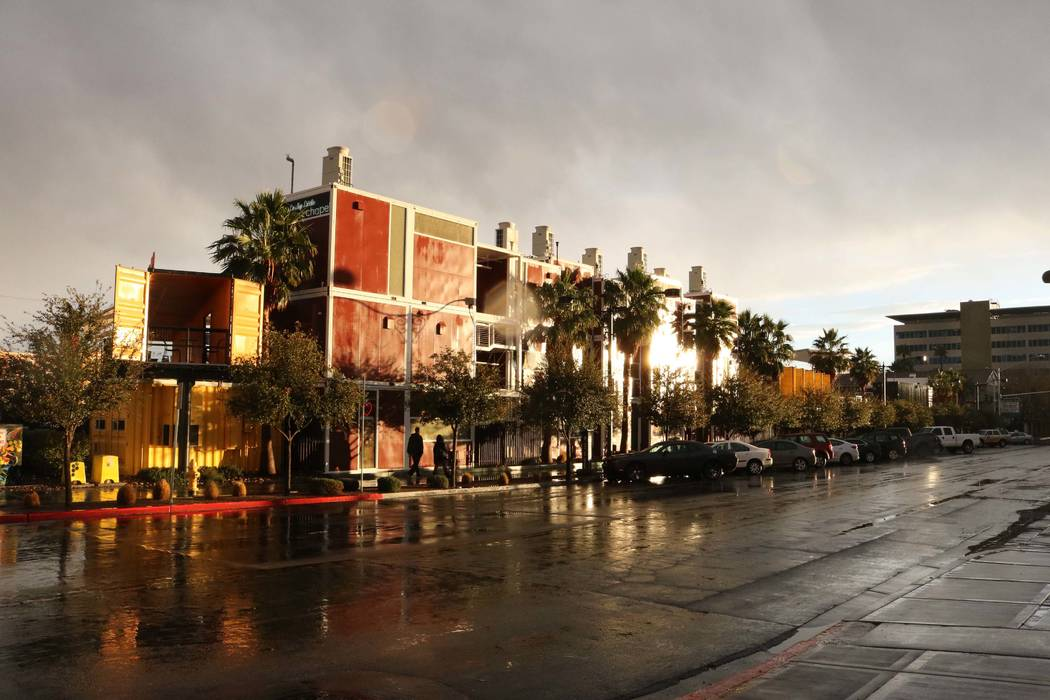 Container Park in downtown Las Vegas after a rainy day in the valley, Tuesday, Jan.9, 2018. (Janna Karel/Las Vegas Review-Journal)