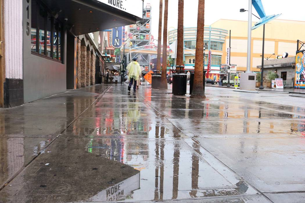 Downtown Las Vegas after a rainy day in the valley, Tuesday, Jan.9, 2018. (Janna Karel/Las Vegas Review-Journal)