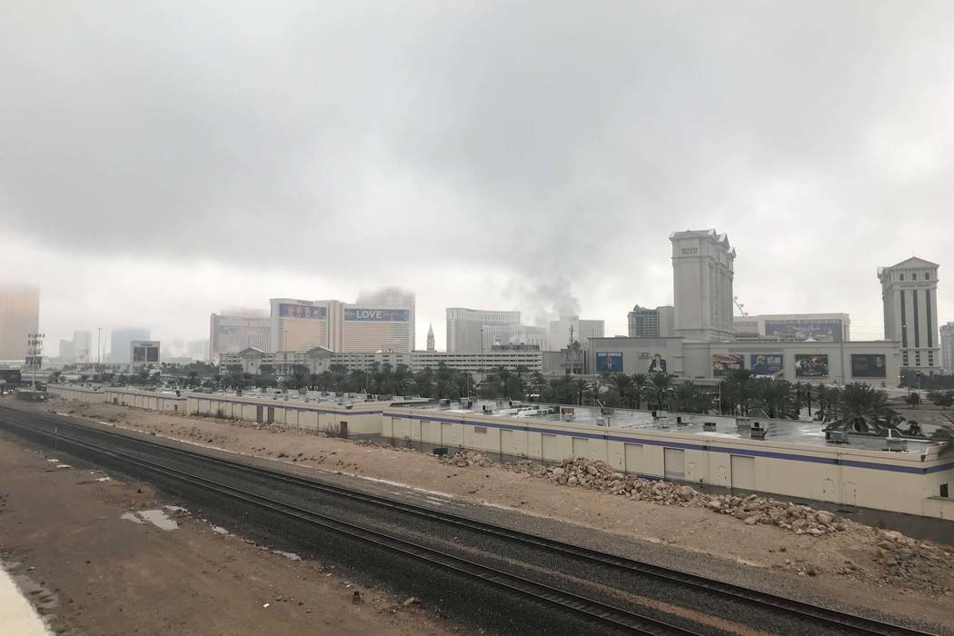 Clouds hang over the Las Vegas Strip in a view from the Rio garage, Tuesday, Jan. 9, 2018. (Elaine Wilson/Las Vegas Review-Journal)