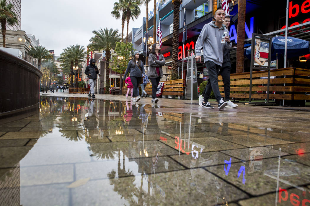 Pedestrians walk along The Linq Promenade on a rainy day in Las Vegas on Tuesday, Jan. 9, 2018. (Patrick Connolly/Las Vegas Review-Journal) @PConnPie