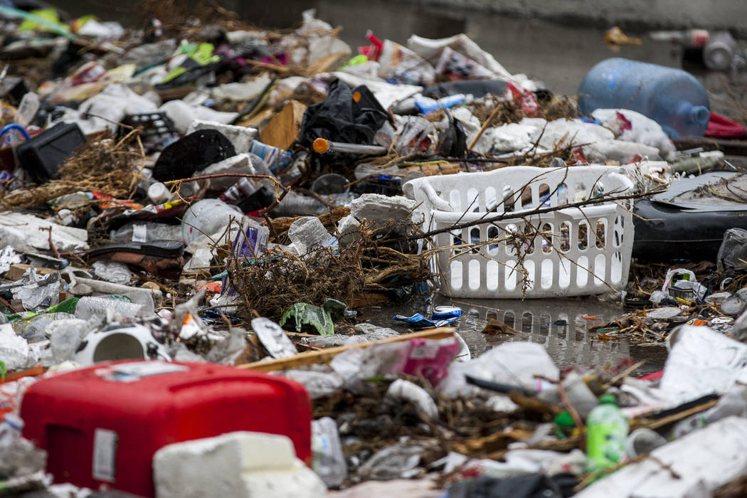 Trash accumulates next to flood channels near The Linq Hotel in Las Vegas on Tuesday, Jan. 9, 2018. (Patrick Connolly/Las Vegas Review-Journal) @PConnPie