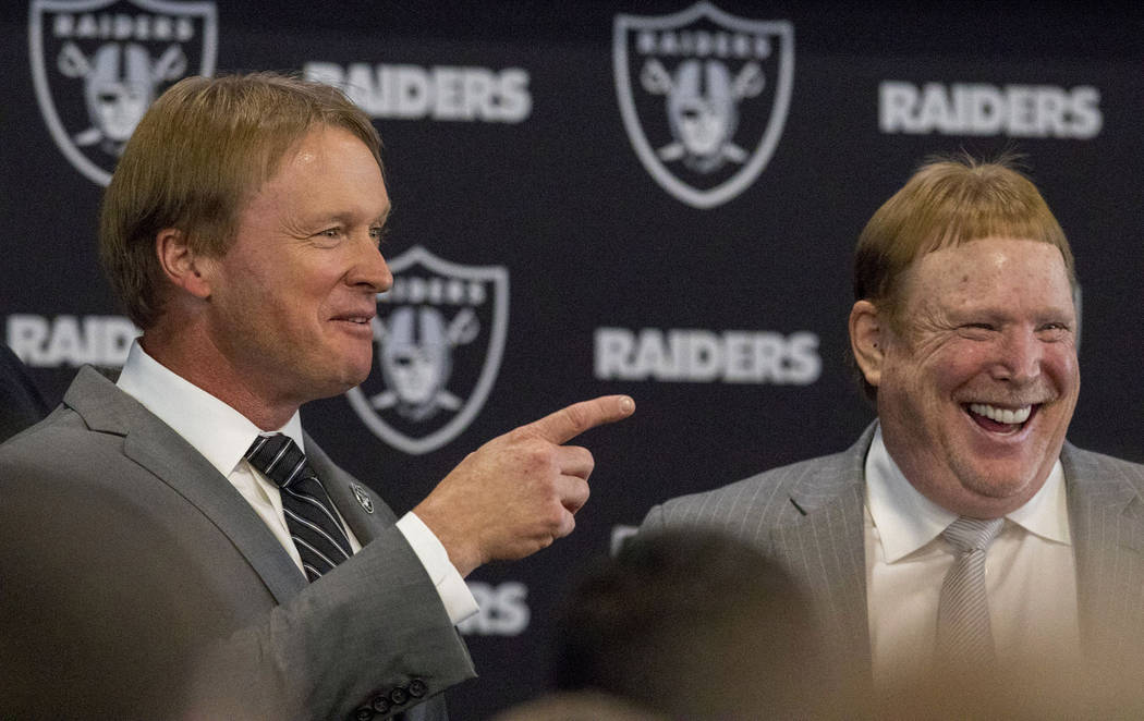 Jon Gruden, left, is announced as the head coach of the Oakland Raiders with owner Mark Davis at the team facility in Alameda, Calif., Tuesday, Jan. 9, 2018. Heidi Fang Las Vegas Review-Journal @H ...