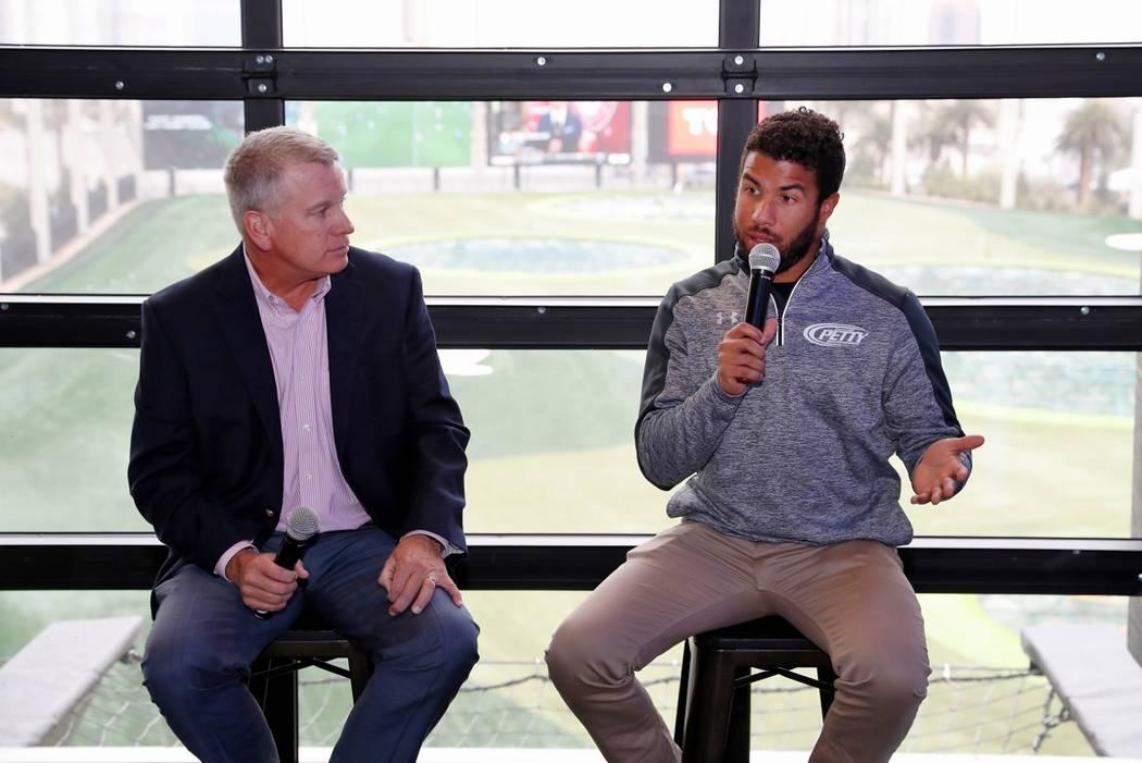 "LAS VEGAS, NV - JANUARY 08: Darrell ""Bubba"" Wallace Jr. makes a media appearance promoting NASCAR Weekend in Las Vegas on January 8, 2018 at Top Golf Las Vegas in Las Vegas, NV.  ..."