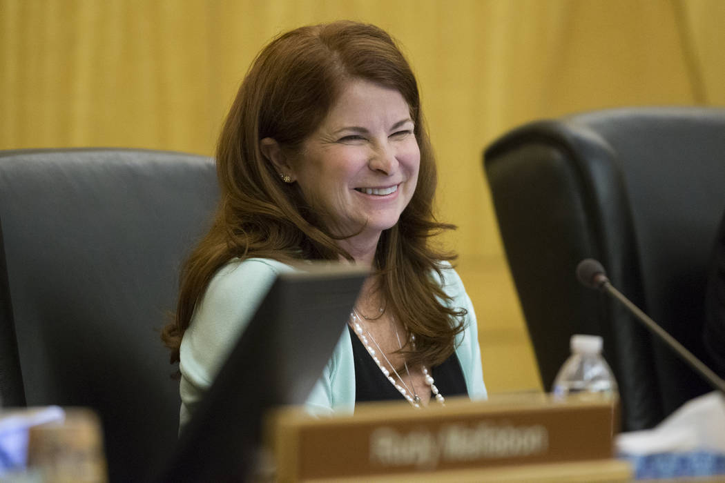 Henderson Ward 2 City Councilwoman Debra March during a Regional Transportation Commission board meeting at the Clark County Commission Chambers on Thursday, April 13, 2017, in Las Vegas. Erik Ver ...