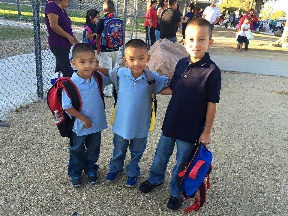 Jose Valle's three children pose for a photograph. From left to right: Byron Valle, 7, Carlos Valle, 7, and Alex Valle, 9. (Jose Valle)