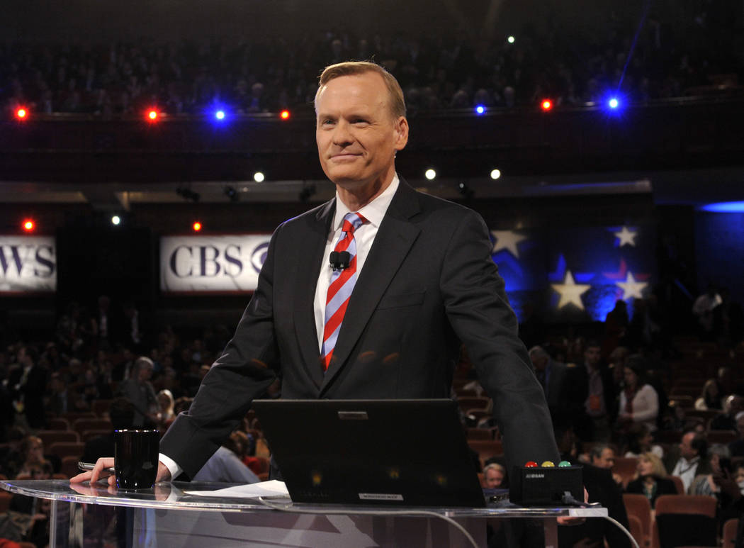 """Face the Nation"" host John Dickerson moderates the CBS News Republican Presidential Debate in Greenville, S.C., Feb. 13, 2016. (Chris Usher/CBS via AP)"