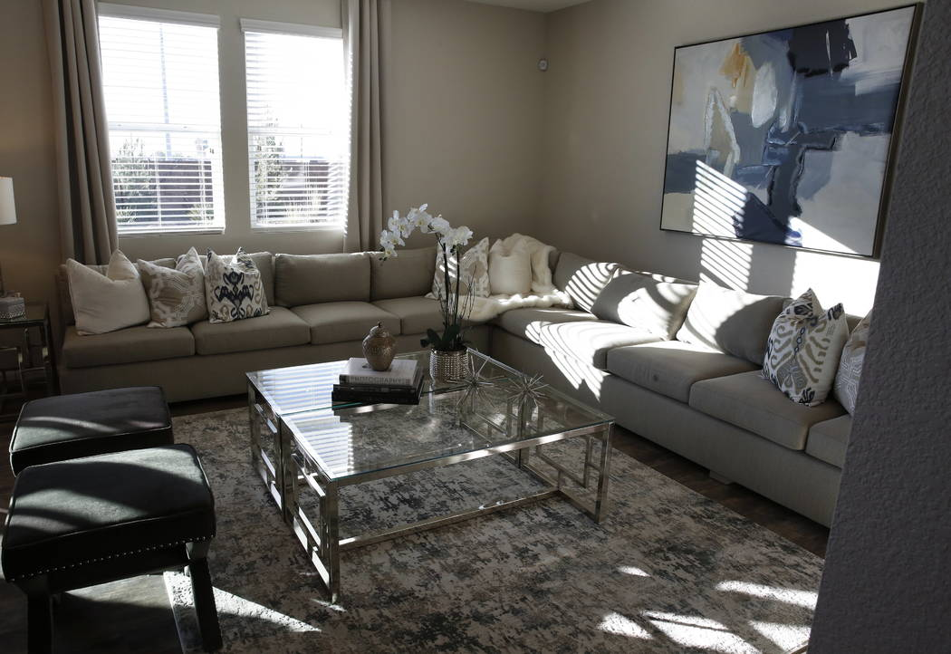 The living room of a model home at KB Home's Desert Mesa community near West Carey Avenue and Revere Street in North Las Vegas on Monday, Jan. 10, 2018. Bizuayehu Tesfaye/Las Vegas Review-Journal  ...