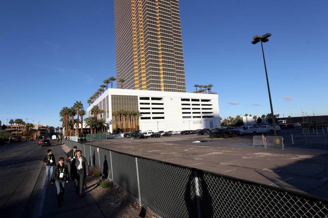 Trump International on Fashion Show Drive near the Strip in Las Vegas Wednesday, Jan. 10, 2018. An adjacent parcel east of the tower is being purchased by Wynn Resorts. Wynn announced in December  ...