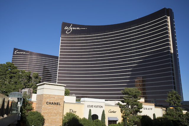 The Encore and Wynn hotel-casinos are shown at the Las Vegas Strip on Wednesday, Nov. 2, 2016. (Loren Townsley/Las Vegas Review-Journal) @lorentownsley