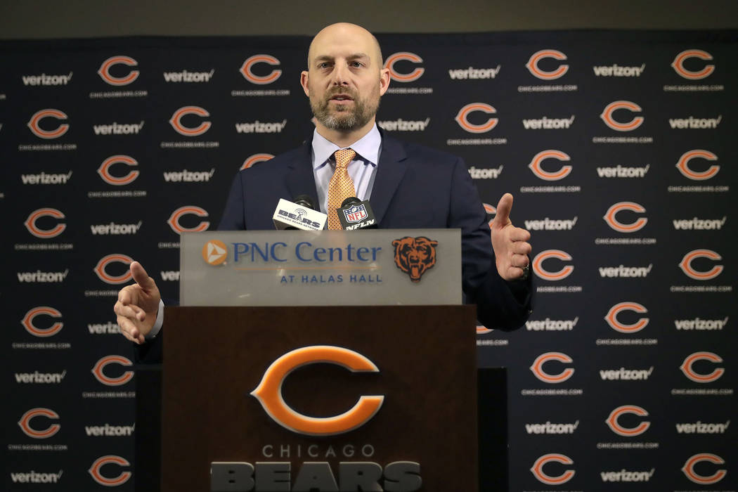 Matt Nagy responds to a question after Chicago Bears general manager Ryan Pace introduced him as the club's 16th head coach in franchise history during an NFL football news conference Tuesday, Jan ...
