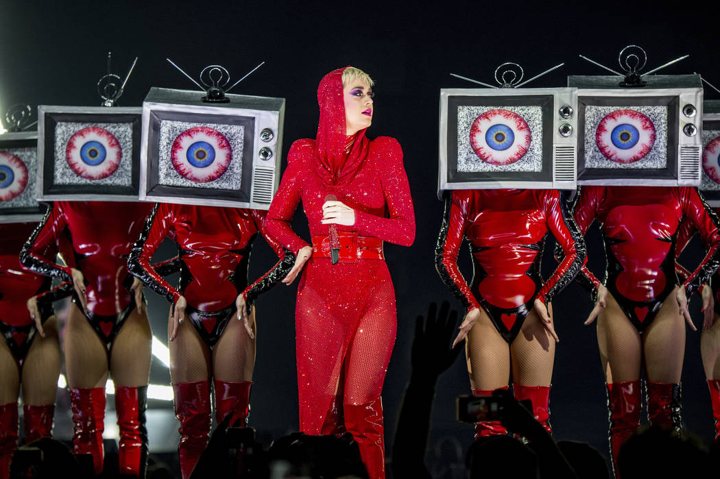 Katy Perry performs at Amalie Arena on Friday, Dec. 15, 2017, in Tampa, Fla. (Photo by Amy Harris/Invision/AP)