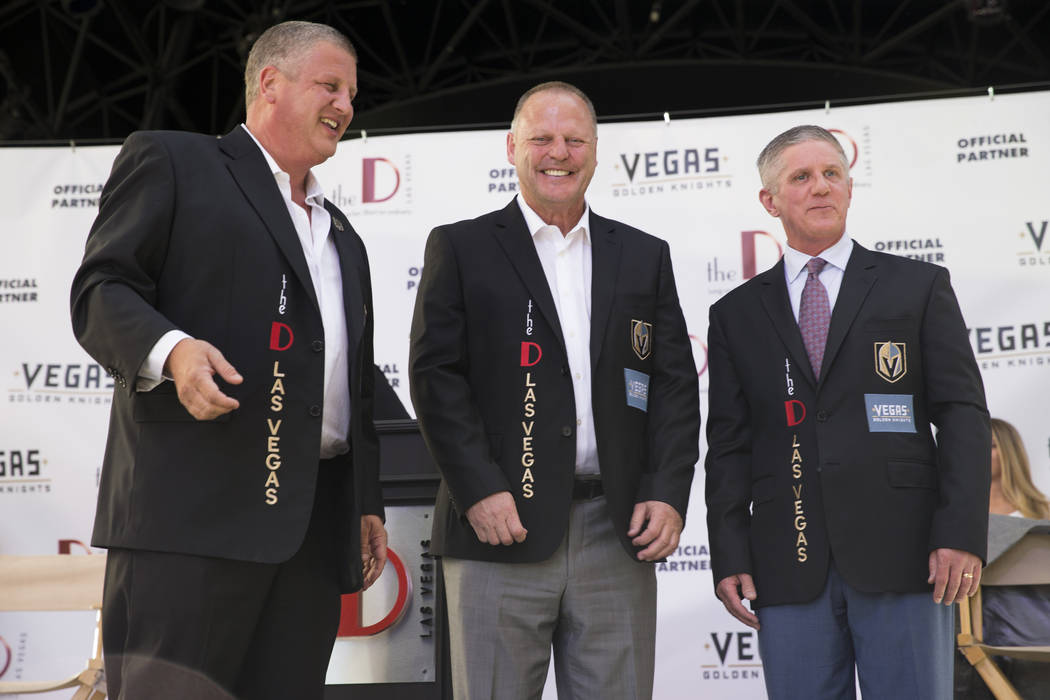 Derek Stevens, from left, owner of the The D Las Vegas casino-hotel, Vegas Golden Knights head coach Gerard Gallant, and team president Kerry Bubolz, during a press conference announcing a partner ...