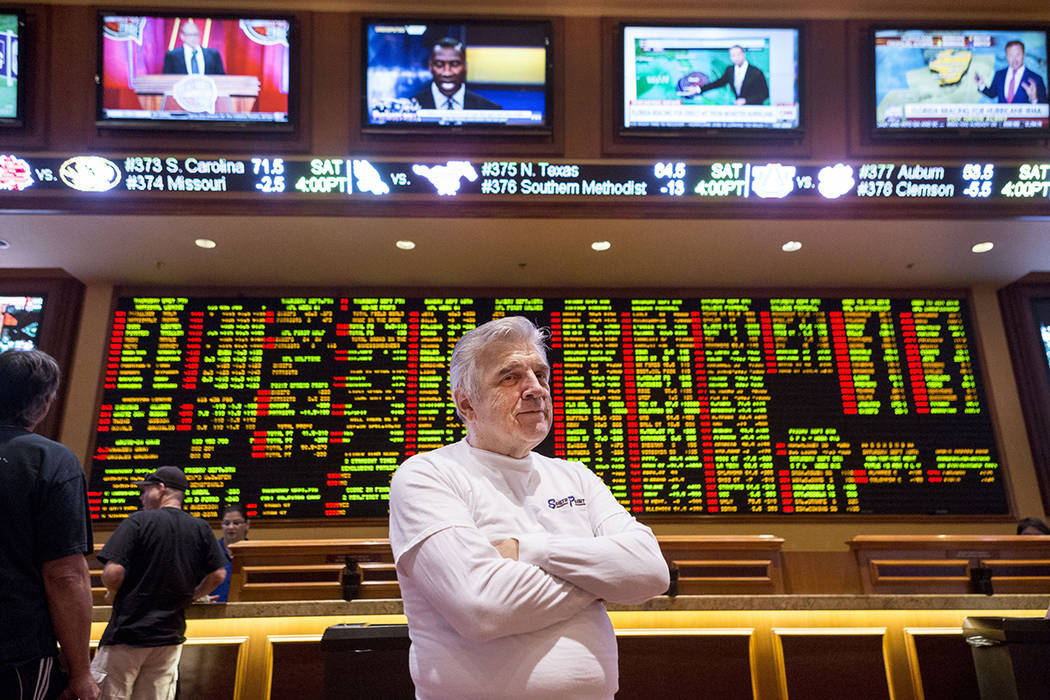 Oddsmaker Jimmy Vaccaro at the South Point hotel-casino's Sports Book in Las Vegas, Thursday, Sept. 7, 2017. (Elizabeth Brumley/Las Vegas Review-Journal)