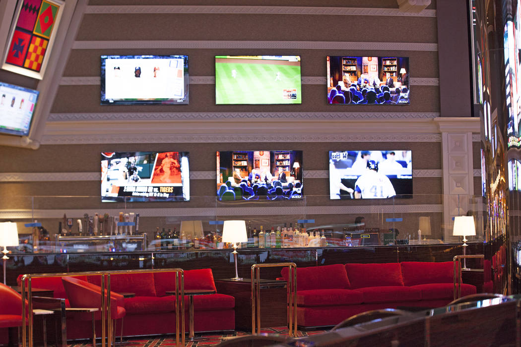 The new race and sports book at the Wynn on Monday, July 31, 2017, in Las Vegas includes new screens, seats and carpet. (Rachel Aston/Las Vegas Review-Journal) @rookie__rae