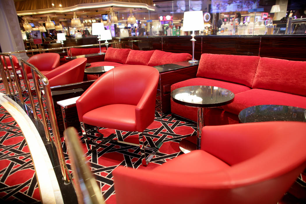 The VIP area at the new race and sports book at the Wynn on Monday, July 31, 2017, in Las Vegas. There are new screens, seats and carpet. (Rachel Aston/Las Vegas Review-Journal) @rookie__rae