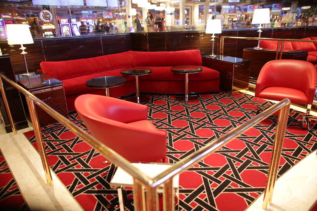 The VIP area at the new race and sports book at the Wynn on Monday, July 31, 2017, in Las Vegas.There are new screens, seats, carpet and a new bar. (Rachel Aston/Las Vegas Review-Journal) @rookie__rae