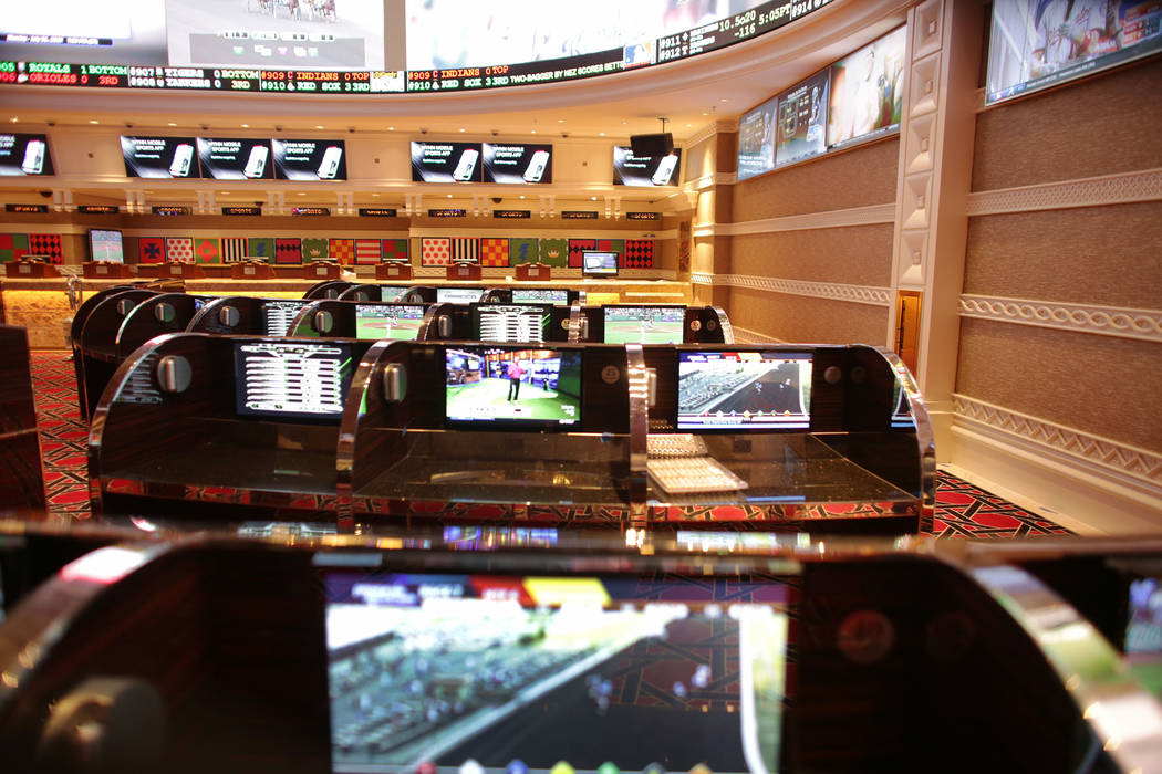 The carrels at the new race and sports book at the Wynn on Monday, July 31, 2017, in Las Vegas. There are new screens, seats and carpet. (Rachel Aston/Las Vegas Review-Journal) @rookie__rae