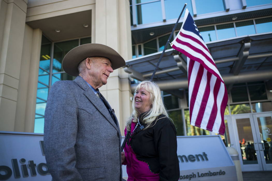 Rancher Cliven Bundy talks with supporter Shawna Cox at Metropolitan Police Department headquarters on Wednesday, Jan. 10, 2018. Chase Stevens Las Vegas Review-Journal @csstevensphoto