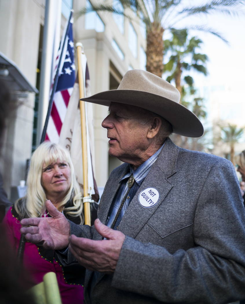 Rancher Cliven Bundy speaks at Metropolitan Police Department headquarters on Wednesday, Jan. 10, 2018. Chase Stevens Las Vegas Review-Journal @csstevensphoto