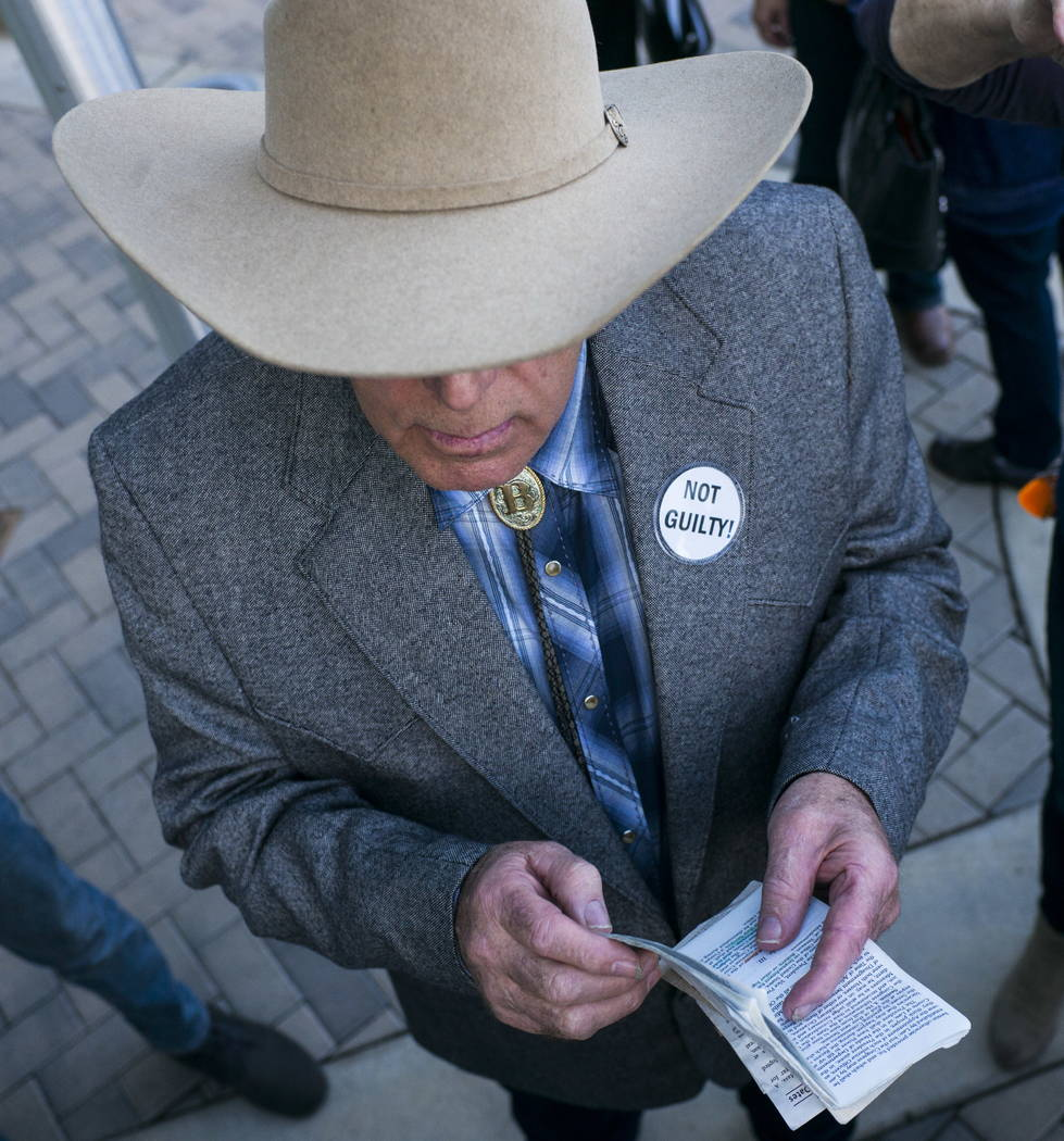Rancher Cliven Bundy holds his copy of the U.S. Constitution after speaking at Metropolitan Police Department headquarters on Wednesday, Jan. 10, 2018. Chase Stevens Las Vegas Review-Journal @csst ...