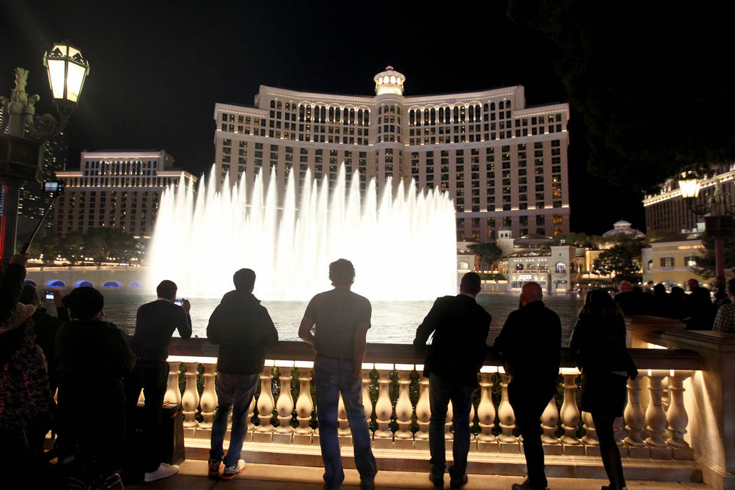 People prepare to watch the Intel Shooting Star lighted drone show as part of the Consumer Electronics Show at the Las Vegas Convention Center Wednesday, Jan. 10, 2018. K.M. Cannon Las Vegas Revie ...