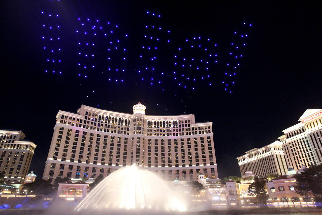 drones fly over bellagio fountains during las vegas ces video las vegas review journal. Black Bedroom Furniture Sets. Home Design Ideas