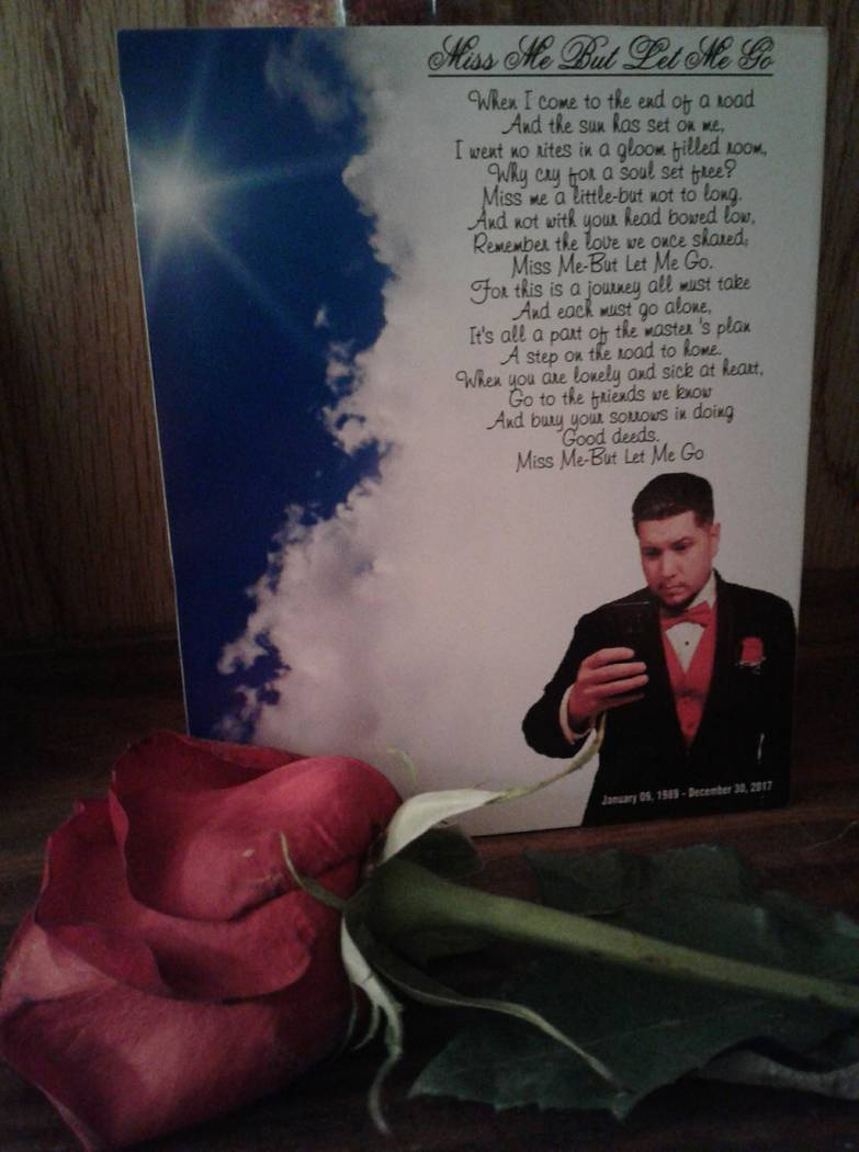 The pamphlet at Phillip Archuleta's memorial. Photo courtesy of Lisa Garcia.