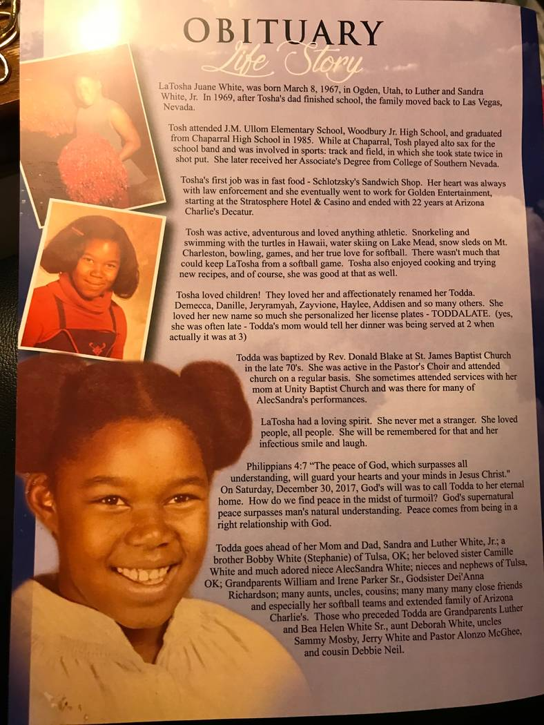 A picture from the program at LaTosha White's funeral. Photo courtesy of Michelle Huskins.