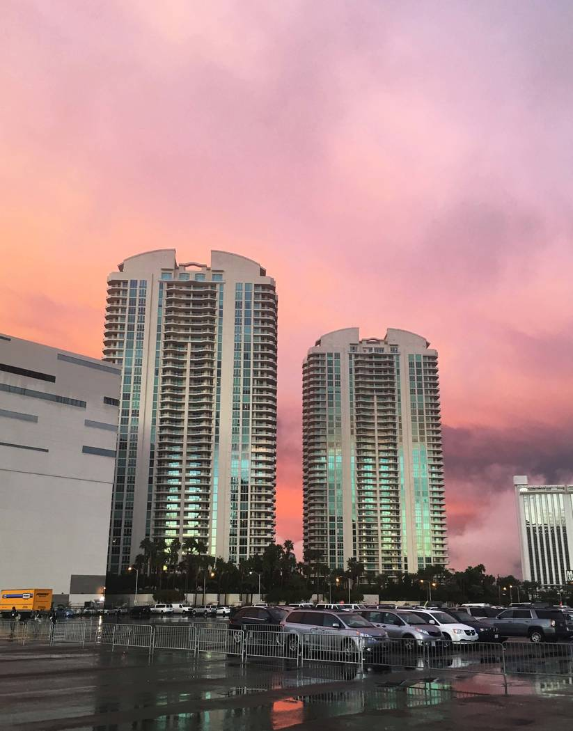 The sun sets behind Turnberry Place in Las Vegas following a rain storm, Tuesday, Jan. 9, 2018. (Bryce Rogers/Las Vegas Review-Journal)