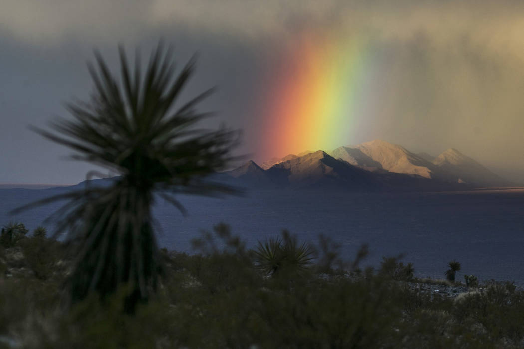 A rainbow settles on the Sheep Range just north of Las Vegas, Tuesday, Jan. 9, 2018. Richard Brian Las Vegas Review-Journal @vegasphotograph