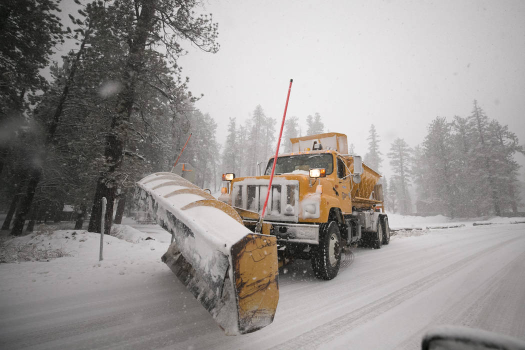A snow plow clears the roads at Upper Lee Meadows in Lee Canyon outside of Las Vegas, Tuesday, Jan. 9, 2018. Richard Brian Las Vegas Review-Journal @vegasphotograph