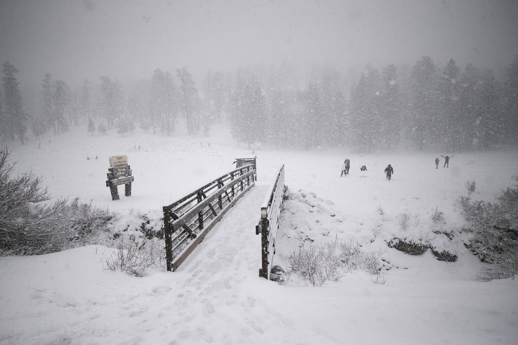 Snow covers the Upper Lee Meadows in Lee Canyon outside of Las Vegas, Tuesday, Jan. 9, 2018. Richard Brian Las Vegas Review-Journal @vegasphotograph
