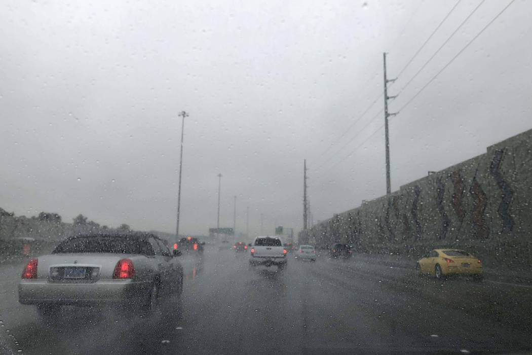 Rain created problems for drivers in the Las Vegas Valley on Tuesday, Jan. 9, 2018. Several crashes were reported throughout the area during the morning commute. (Kerry Blanchfield/Las Vegas Revie ...