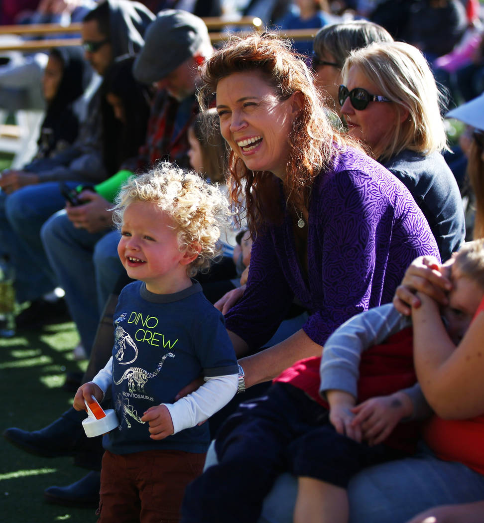 Attendees react during Jump! The Ultimate Dog Show at the Springs Preserve in Las Vegas, Jan. 13, 2018. The Las Vegas-based company produces action-packed performances and features a variety of do ...