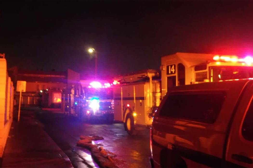 Clark County firefighters responded to a fire Tuesday night at the Townhome Villas apartments, 1000 Dumont Blvd. (Max Michor/Las Vegas Review-Journal)