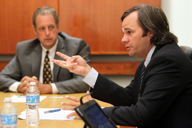 Ryann Juden, right, and North Las Vegas Mayor John Lee. (K.M. Cannon/Las Vegas Review-Journal)