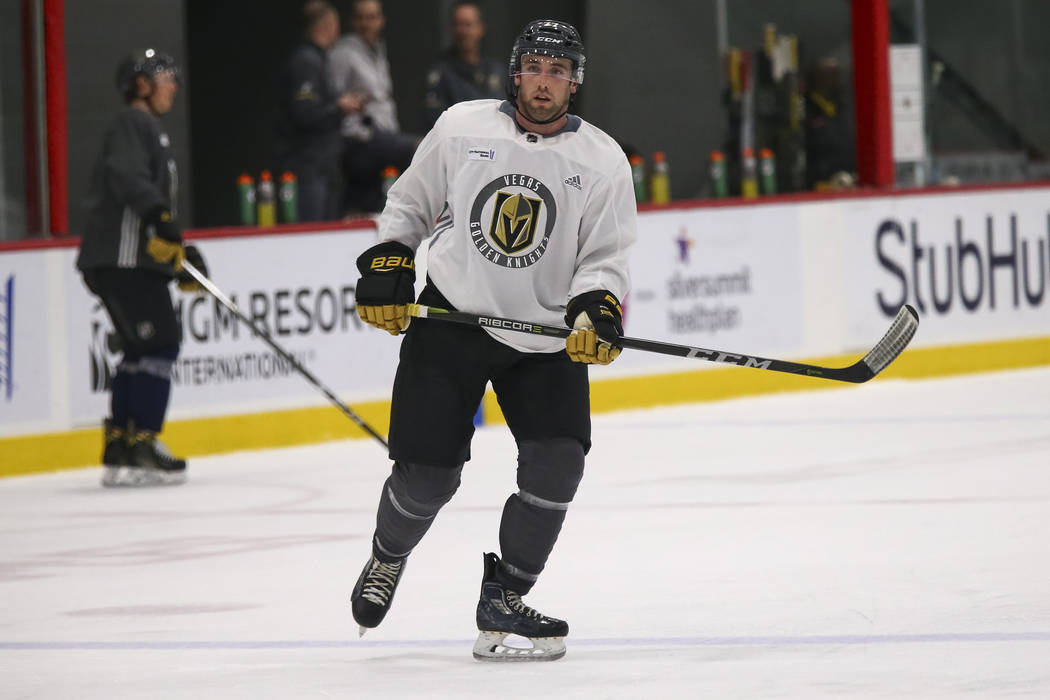 Vegas Golden Knights defenseman Brad Hunt (77) on the ice during the NHL team's practice at the City National Arena in Las Vegas, Friday, Jan. 12, 2018. Richard Brian Las Vegas Review-Journal @veg ...